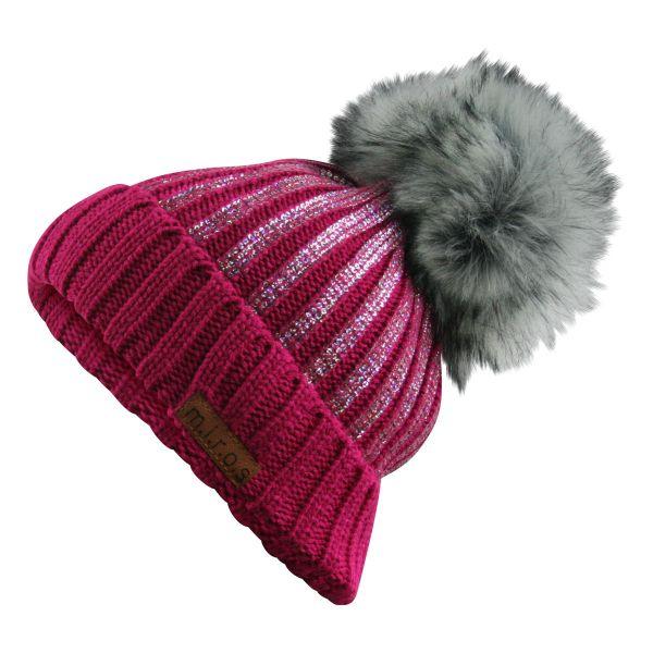 Odette Damen Wintermütze Pink mit Pailletten Print | handgemachte Bommel Mütze
