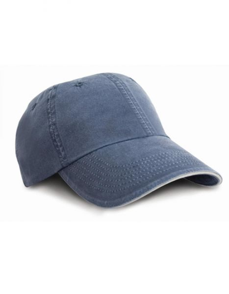 Washed Fine Line Cotton Cap with Sandwich Peak - Caps - 6-Panel-Caps - Result Headwear Navy - Putty