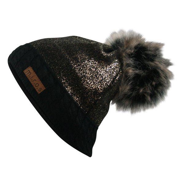 Brittany Damen Wintermütze Schwarz Golden | handgemachte PomPom Mütze dunkel