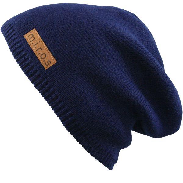 Long Beanie Mütze Mika in Navy Blau / handgemachte Wintermütze