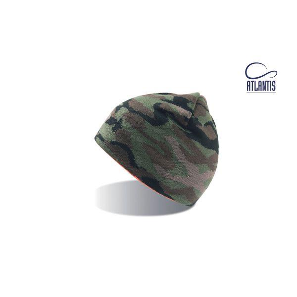 Unisex Beanie Camouflage-Orange Leichte Mütze Wintermütze Strickmütze
