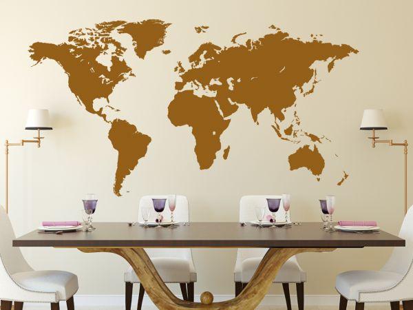 Wandtattoo Weltkarte sehr detalliert in 110cm x 59cm