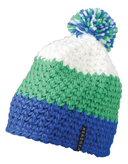 Crocheted Cap with Pompon - Winteraccessoires & Mützen - Mützen - Myrtle beach Aqua - Lime Green - White