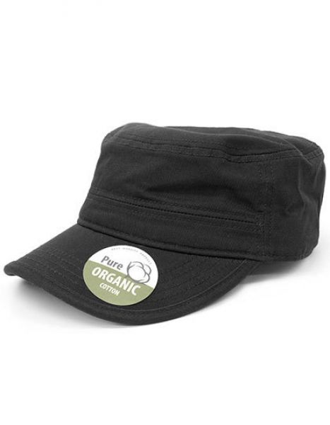 Organic Cotton Army Cap washed - Brain Waves Black
