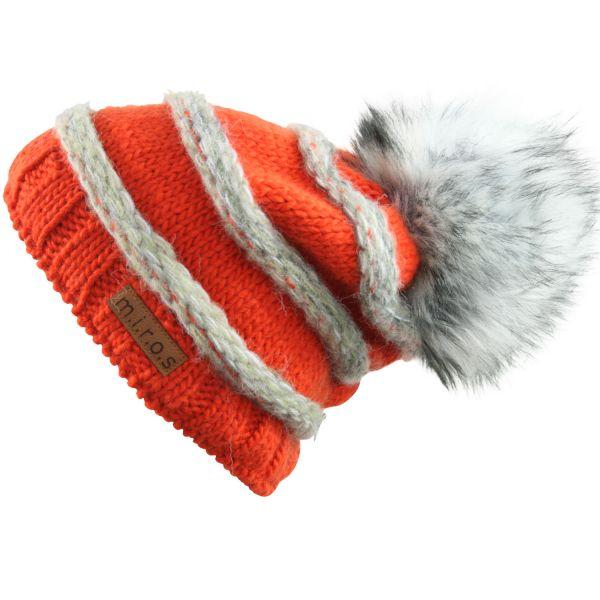 Long Beanie Mütze Käthe Orange Grau / handgemachte Wintermütze mit Pom Pom