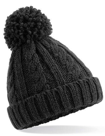 Junior Cable Knit Melange Beanie - Beechfield Black