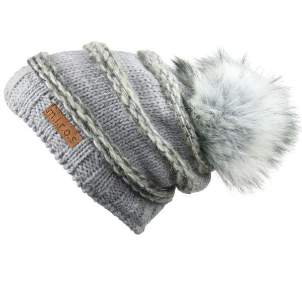 Long Beanie Mütze Käthe Grau handgemachte Wintermütze PomPom