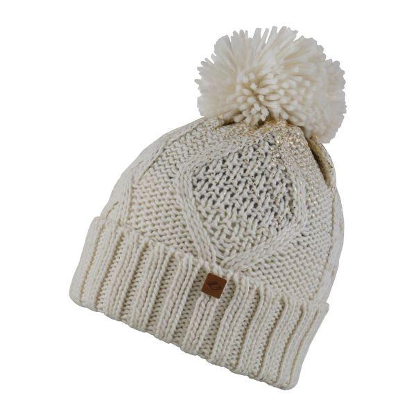 CHILLOUTS Chiara Hat Wintermütze in Cream Gold Metallic | Bommel Mütze