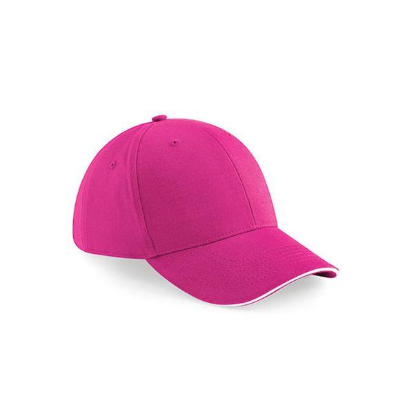 Unisex 6 Panel Cap Pink-Weiss Baseball Mütze Metallschnalle