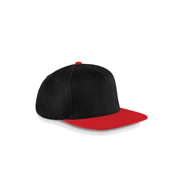 Unisex 5-Panel Cap Schwarz Rot Snapback Cap Mütze