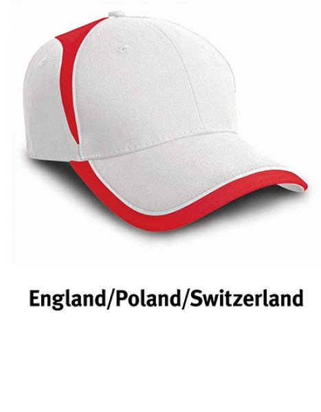 National Cap - Caps - 6-Panel-Caps - Result Headwear England White - Red