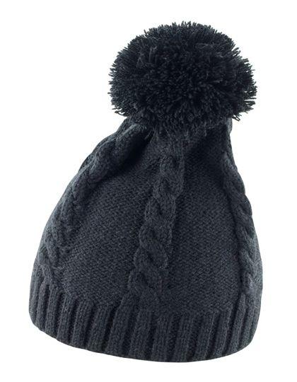 Cable Knit Pom-Pom Beanie - Winteraccessoires & Mützen - Mützen - Result Winter Essentials Black