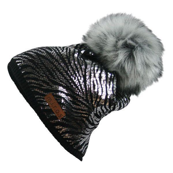 Mandy Damen Wintermütze Schwarz mit silbernen Print | handgemachte Bommel Mütze