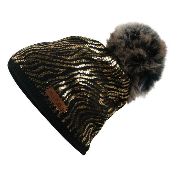 Mandy Damen Wintermütze Schwarz mit goldenem Print | handgemachte Bommel Mütze