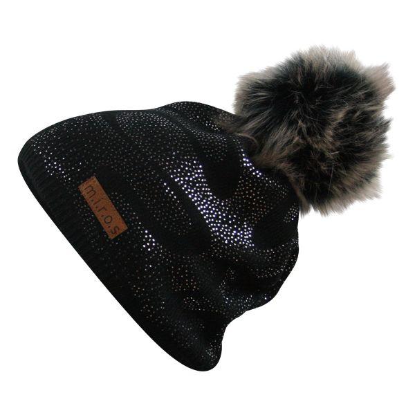 Linette Damen Wintermütze Schwarz mit silbernem Druck | handgemachte Mütze