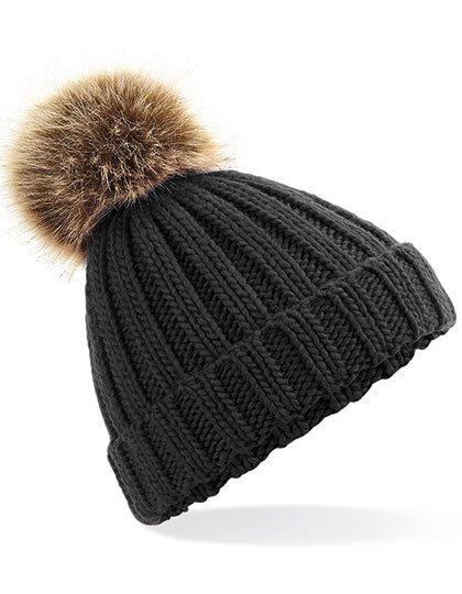 Junior Faux Fur Pom Pom Chunky Beanie - Beechfield Black