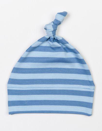 Baby Stripy One Knot Hat - Kinderbekleidung - Baby Lätzchen & Mützen - Babybugz Antique Blue - Dusty Blue