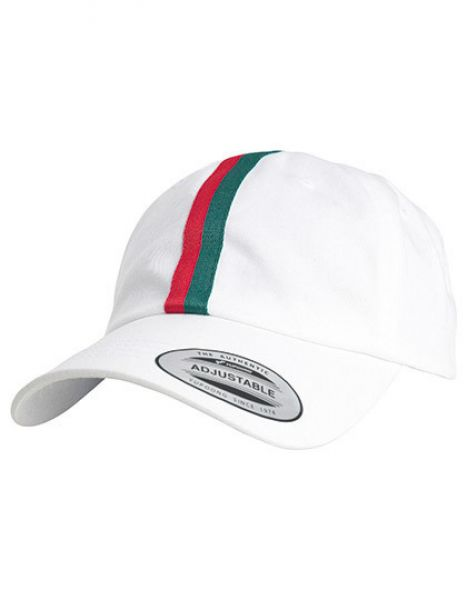 Stripe Dad Hat - Caps - 6-Panel-Caps - FLEXFIT White - Fire Red - Green