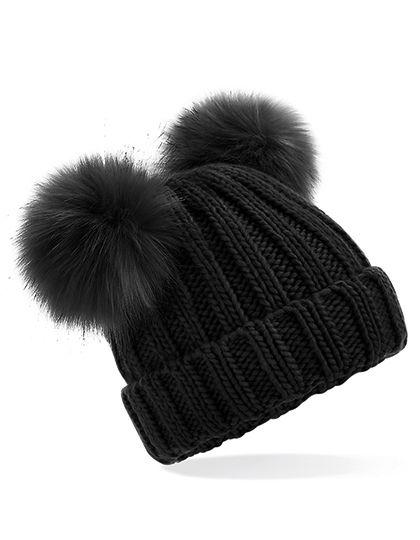 Junior Faux Fur Double Pom Pom Beanie - Beechfield Black
