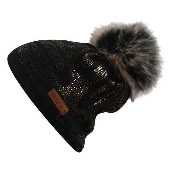 Linette Damen Wintermütze Schwarz mit goldenem Druck | handgemachte Mütze