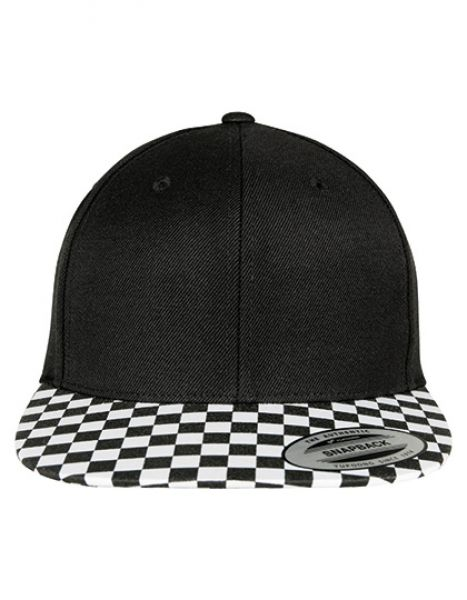 Checkerboard Snapback - FLEXFIT Black - White