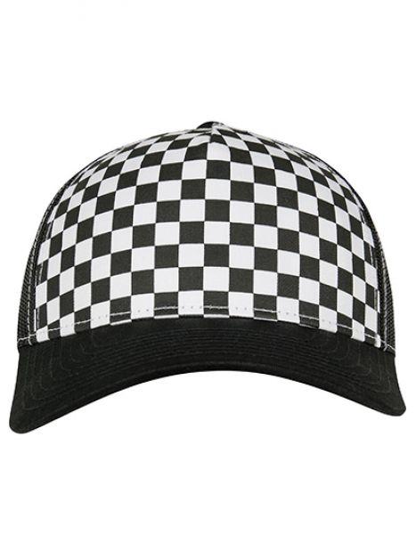 Checkerboard Retro Trucker - FLEXFIT Black - White