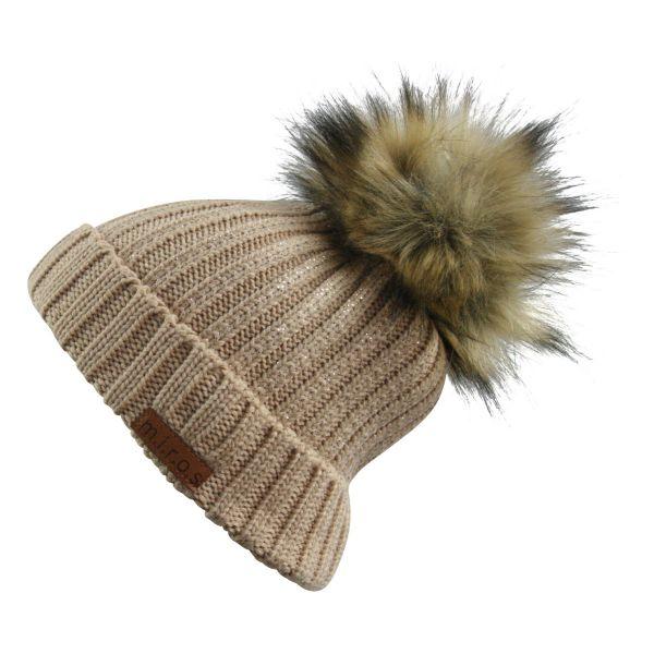 Colette Damen Wintermütze Beige mit Glitzer | handgemachte PomPom Mütze