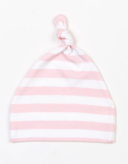 Baby Stripy One Knot Hat - Kinderbekleidung - Baby Lätzchen & Mützen - Babybugz Powder Pink - White