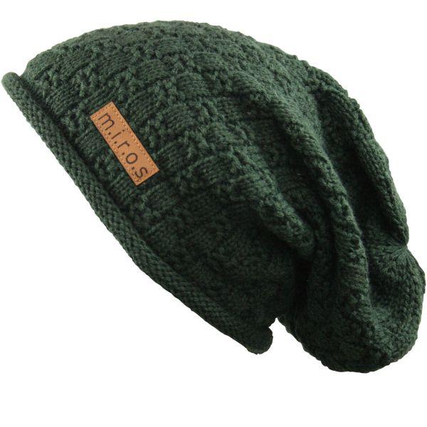 Long Beanie Mütze Chris in Olive Grün / handgemachte Mütze