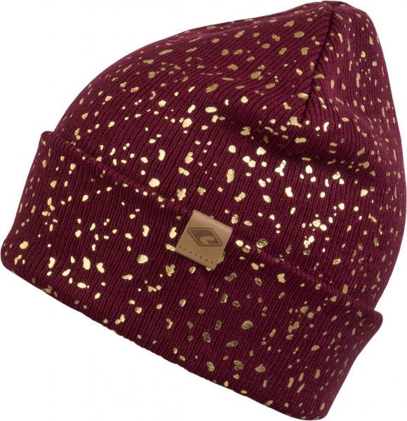 CHILLOUTS Mabel Hat Damen Beanie Mütze in Bordeaux/Gold Wintermütze