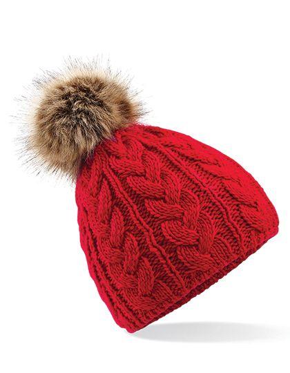 Faux Fur Pop Pom Cable Beanie - Winteraccessoires & Mützen - Mützen - Beechfield Classic Red