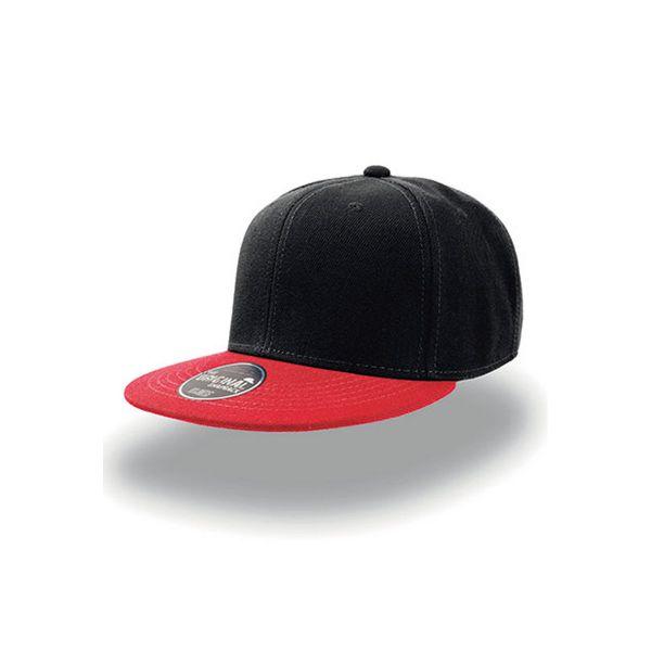 Unisex 6-Panel Cap Schwarz Rot Snapback Cap Mütze