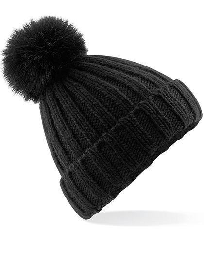Verbier Faux Fur Pop Pom Chunky Beanie - Winteraccessoires & Mützen - Mützen - Beechfield Black
