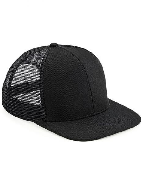 Original Flat Peak 6 Panel Trucker Cap - Beechfield Black - Black