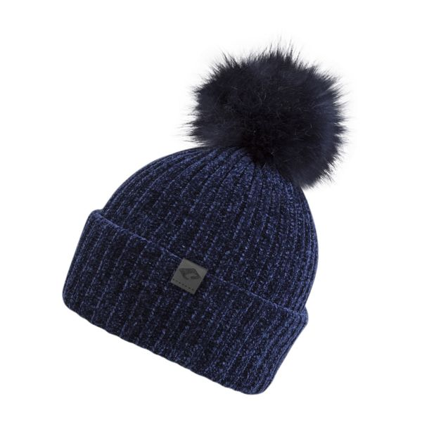 CHILLOUTS Lucy Hat Damen Bommelmütze in navy blau Wintermütze