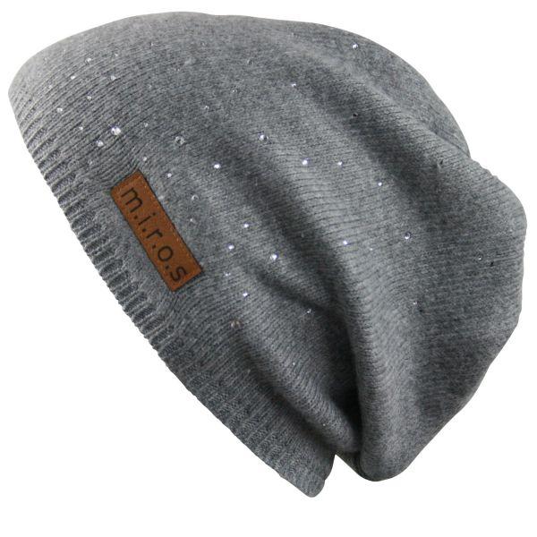 Long Beanie Mütze Julie Hellgrau / handgemachte Wintermütze mit Kristallen