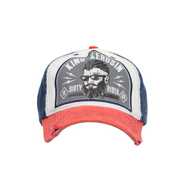 King Kerosin Herren Trucker Cap -Dirty Rider- red/blue KK50005