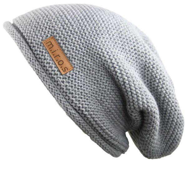Long Beanie Mütze Alex Hellgrau - handgemachte Strickmütze - Herren & Damen