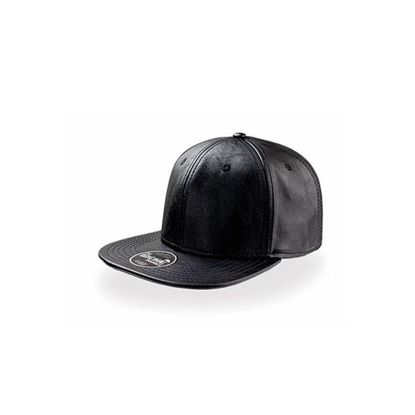 Unisex 6-Panel Cap Schwarz Leder Snapback Cap Mütze