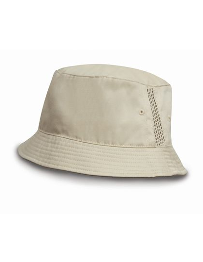 Deluxe Washed Cotton Bucket Hat with Side Mesh Panels - Caps - Hüte - Result Headwear Natural
