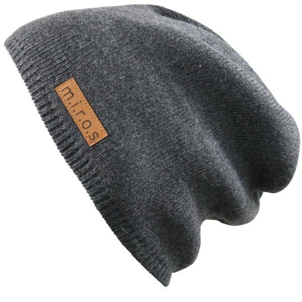 Long Beanie Mütze Mika in Dunkelgrau / handgemachte Wintermütze