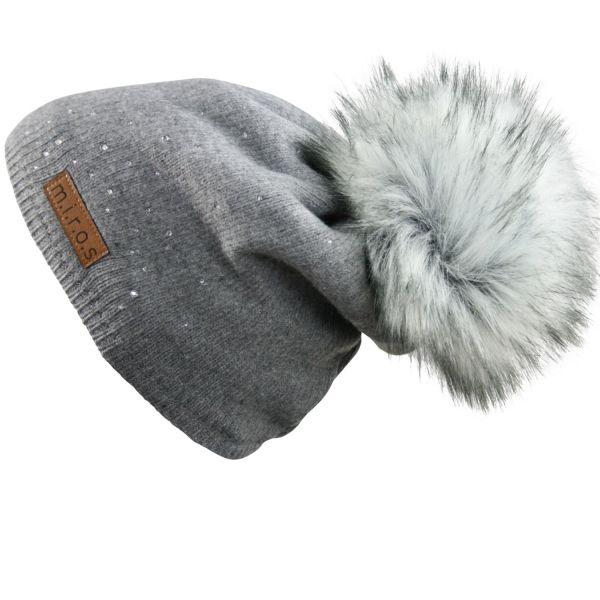 Long Beanie Mütze Juliette Grau handgemachte Wintermütze PomPom