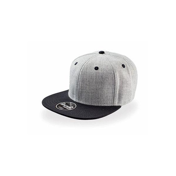 Unisex 6-Panel Cap Grau Schwarz Snapback Cap Mütze