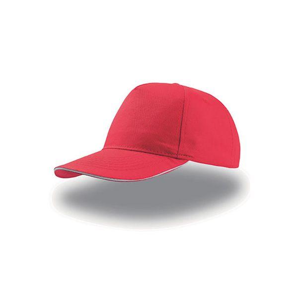 Unisex 5-Panel Cap Rot Weiss Baseball Cap Mütze
