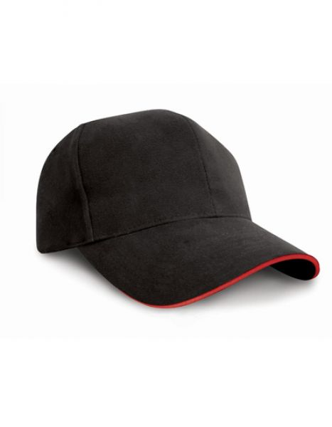 Pro-Style Heavy Cotton Cap - Caps - 6-Panel-Caps - Result Headwear Black - Red