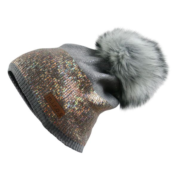 Sandy Damen Wintermütze Hellgrau goldener Pailletten Print | handgemachte Mütze