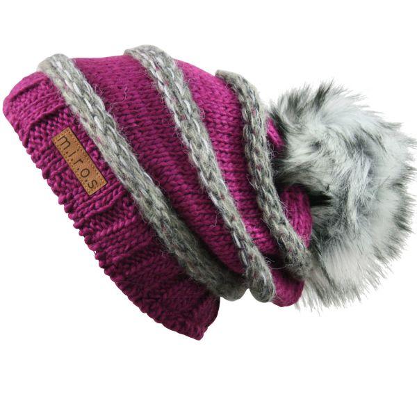 Long Beanie Mütze Käthe Lila Grau / handgemachte Wintermütze mit Pom Pom