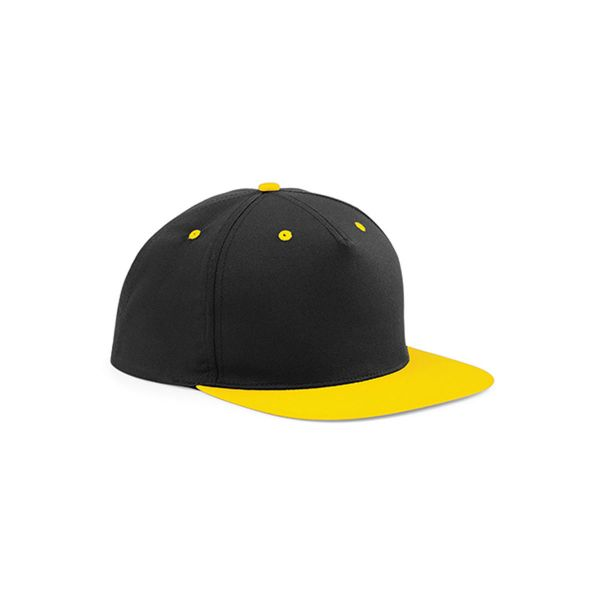 Unisex 5 Panel Cap Schwarz Gelb Snapback Cap Mütze
