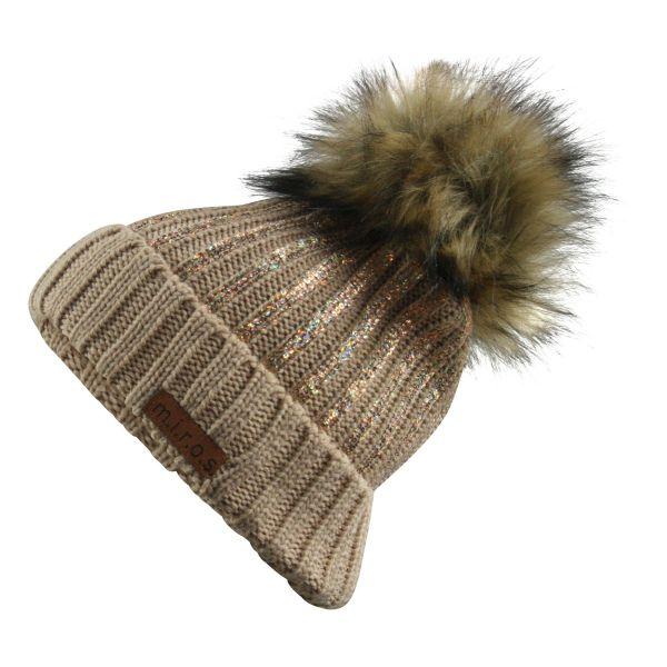 Odette Damen Wintermütze Beige mit Pailletten Print | handgemachte Bommel Mütze