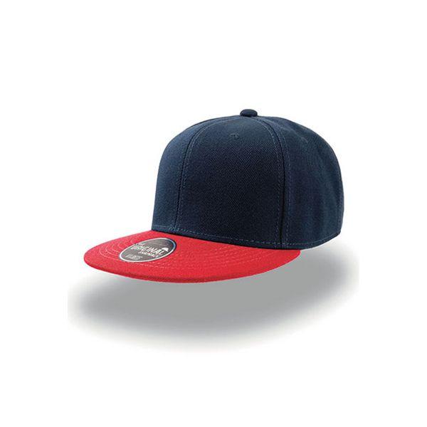Unisex 6-Panel Cap Dunkelblau Rot Snapback Cap Mütze